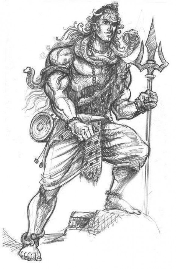 Pencil painting pictures of lord shiva