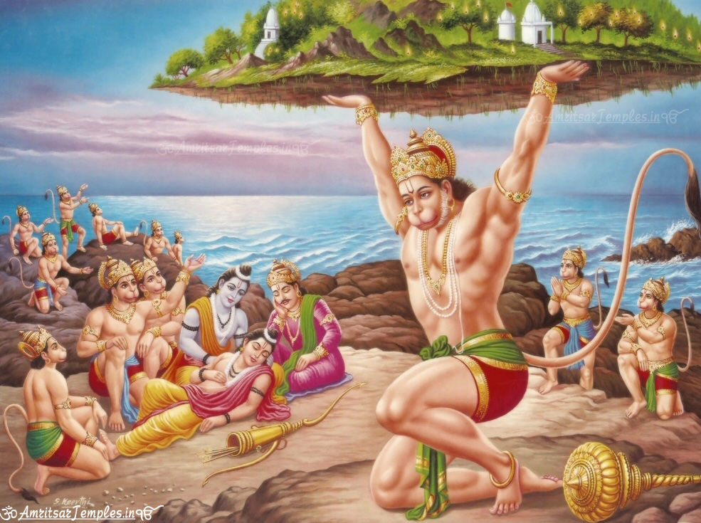 lord hanuman lifting mountain images, wallpapers pictures